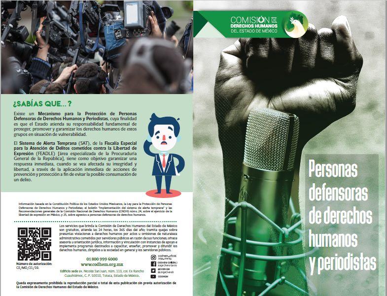 Personas defensoras de derechos humanos y periodistas