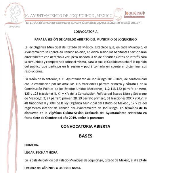 CONVOCATORIA DE CABILDO ABIERTO